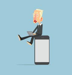 businessman on smartphone concept vector image