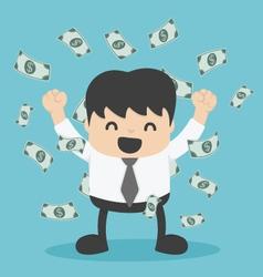 Businessman with heap of dollar money vector
