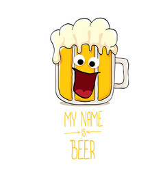 Cartoon funky beer glass character with vector
