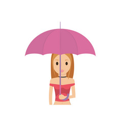 cartoon woman with umbrella icon vector image