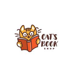 Cats book logo vector
