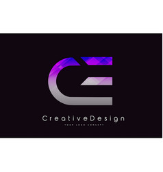Ce letter logo design purple texture creative vector