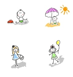 Children-boys girls toddlers vector