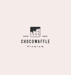 choco waffle chocolate logo hipster retro vintage vector image