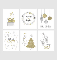 christmas greetings cards in hand drawn style vector image