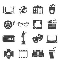 cinema items black glyph icons set vector image