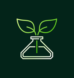 conical flask with green leaves line icon vector image