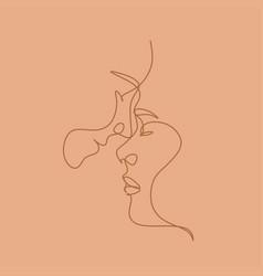 couple line love print vector image
