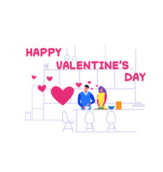 couple lovers making dinner happy valentines day vector image