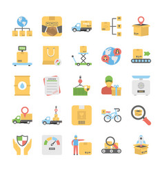 creative flat icons set of logistic delivery vector image