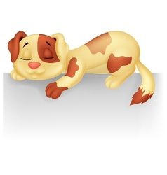 Cute dog cartoon sleeping on the white blank label vector image