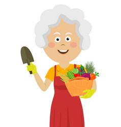 Cute elderly gardening woman with wicker basket vector