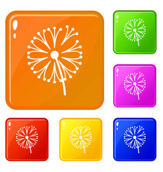 dandelion plant icons set color vector image