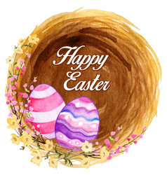 easter nest with colorful decorated eggs and vector image