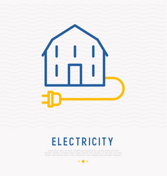 Electricity concept house with plug line icon vector