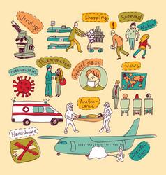 Epidemic pandemic doodles virus scene people set vector