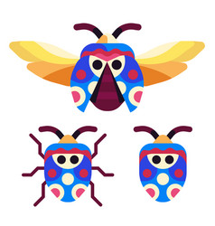 Exotic picasso bug icons in flat design vector