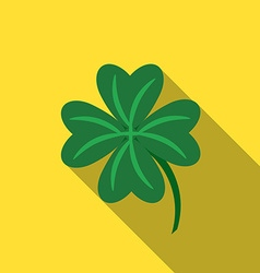 Flat design lucky clover icon with long shadow vector image