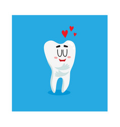 Funny shiny white tooth character showing love vector