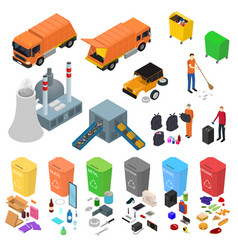 Garbage recycling signs 3d icons set isometric vector