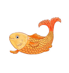 Gold fish on white background doodle vector