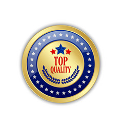 golden top quality badge or icon with stars vector image