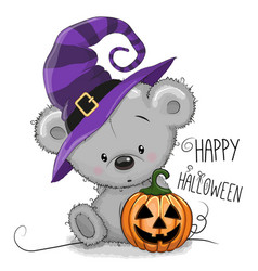 halloween of cartoon bear vector image