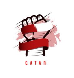 Hand and flag qatar template design vector