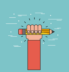 Hand hold pencil flat vector