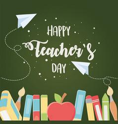 Happy teachers day school education elements vector