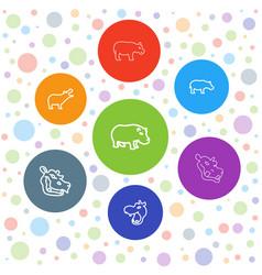 Hippo icons vector