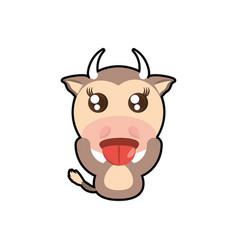 kawaii cow animal toy vector image