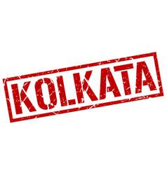 Kolkata red square stamp vector