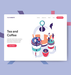 landing page template tea and coffee concept vector image