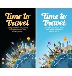 Landmarks on globe travel to world journey vector