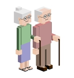 Lego elderly couple with walking stick vector