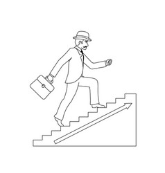 lineart up stairs old businessman gentleman adult vector image