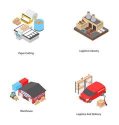 Logistics isometric icons vector