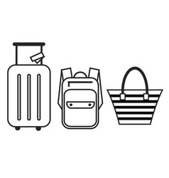 luggage icon set backpack handbag and suitcase vector image
