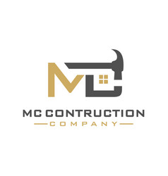 mc letter construction logo design vector image