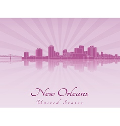 New Orleans skyline in purple radiant orchid vector