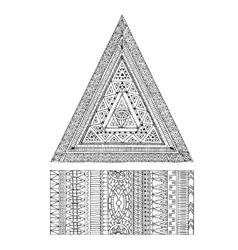 Original drawing tribal triangle and banner vector