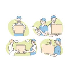 Parcel delivery courier service set concept vector