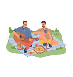 Picnic on nature men sitting blanket with guitar vector