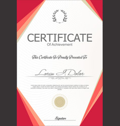 Red modern certificate or diploma template vector