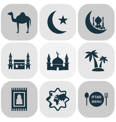 religion icons set with camel palms mecca and vector image