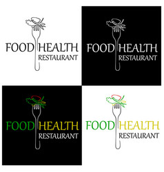 Restaurant healthy food icon and label design vector