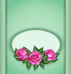 Roses postcard green vector