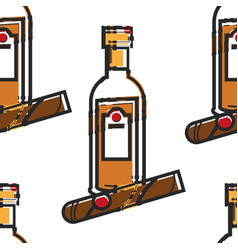 rum bottle and cigar cuban drink and tobacco vector image