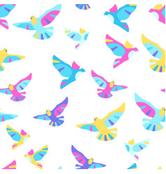 Seamless pattern with doves vector